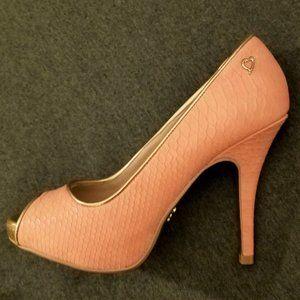 Thalia Sodi Peach Snakeskin Cereza Open Toe Pumps